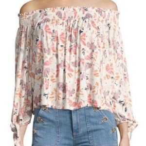 Free People Off the Shoulder Floral Tie Top Sz M